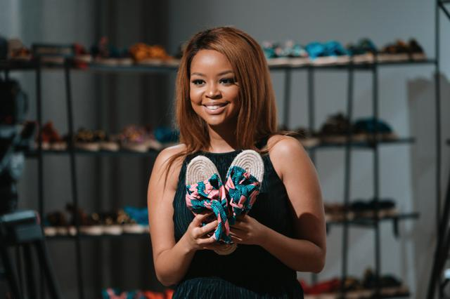 Lerato Kgamanyane with a pair of Galago sandals.