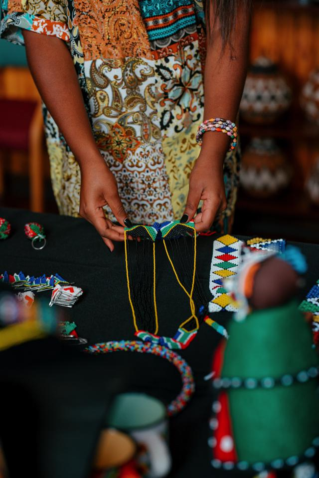 Beaded pieces from Tshwane Hub of Arts.