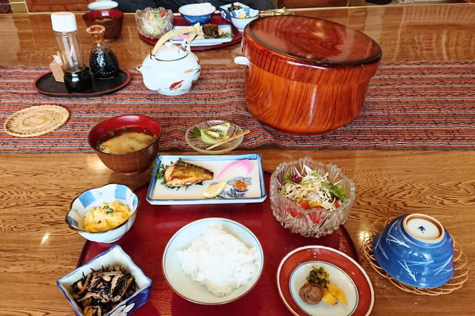 Breakfast served by our minshuku host, Oita Prefecture