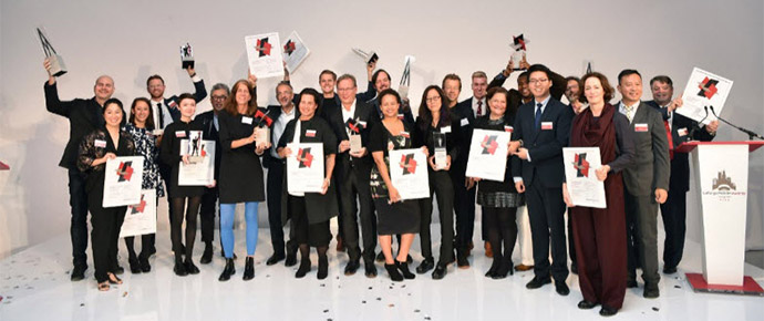 LafargeHolcim Awards 2017 for North America prize handover ceremony in Chicago. Winners celebrate their recognition in the world's most significant competition for sustainable design.