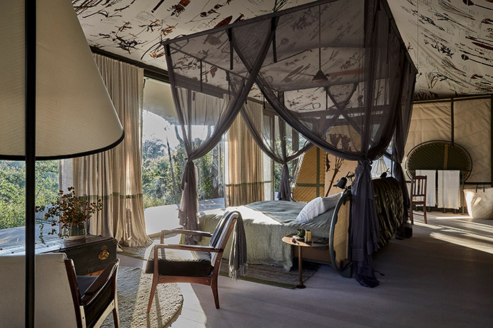 The custom-made mosquito nets were made by Kiwinet. The fabric for the bed linen was imported from Italy and custom made by Starch (also known as Heavenly Feather). SRLC Architects chose soft apple greens, ivories and a dusty pink to complement the rest of the interiors.