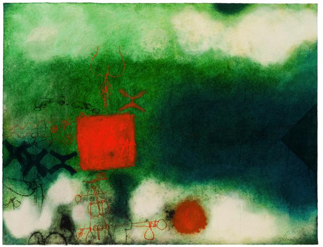 Abstract with Green, Blue and Red by Douglas Portway