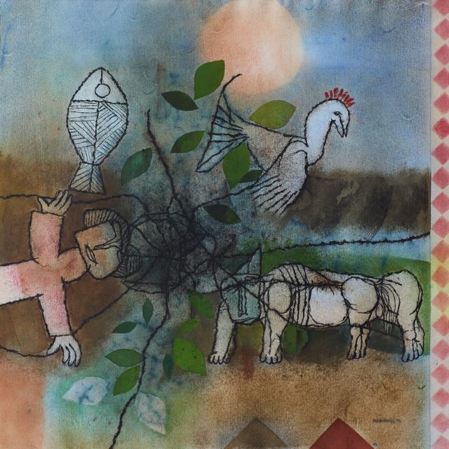 Composition with Cockerel, Dog, Figure and Fish by Louis Maqhubela