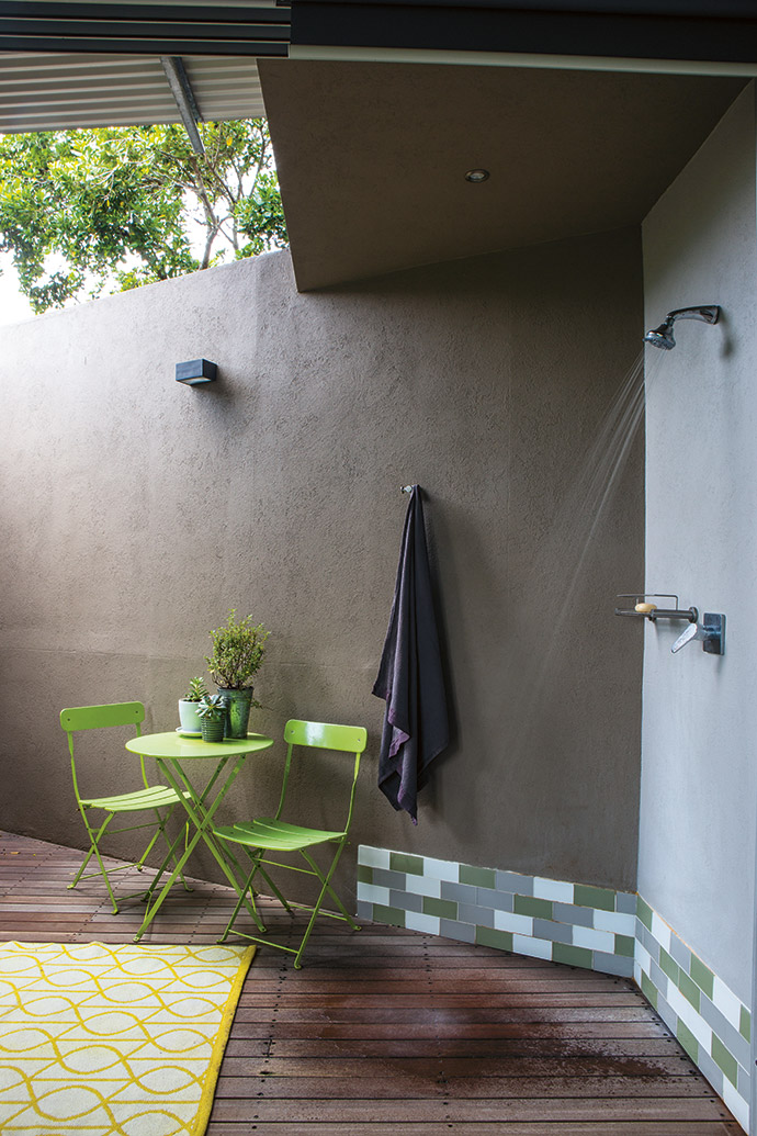 Fiona and John love their outdoor shower and use it year-round.